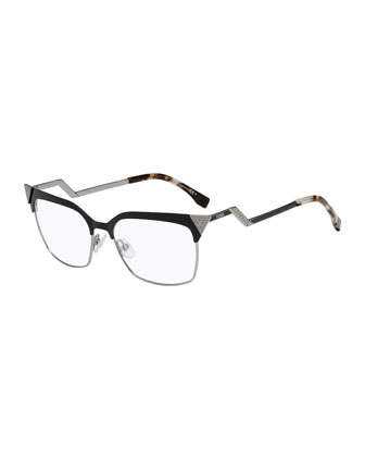 Zigzag-Temple Square Fashion Glasses, Black