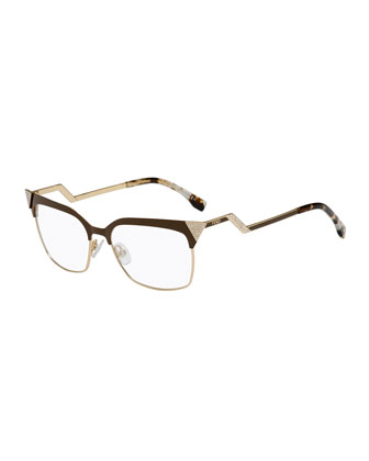 Zigzag-Temple Square Fashion Glasses, Brown/Golden