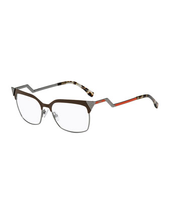 Zigzag-Temple Square Fashion Glasses, Brown/Red