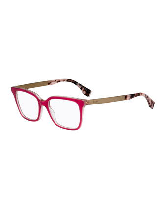 Square Clear-Edge Fashion Glasses, Pink