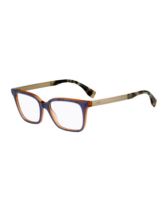 Square Two-Tone Fashion Glasses, Blue