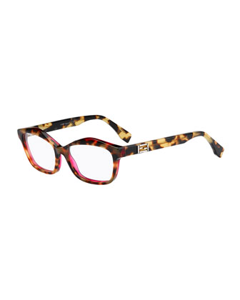 Havana Raised-Brow Fashion Glasses, Yellow/Brown