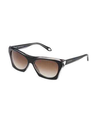 Faceted Square Sunglasses, Black/Gray