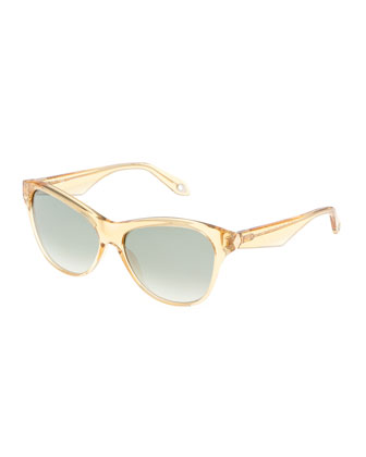 Translucent Rounded Sunglasses, Yellow