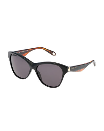 Rounded Angled-Arm Sunglasses, Black