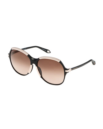 Butterfly Sunglasses w/Metal Contrast, Black/Gold