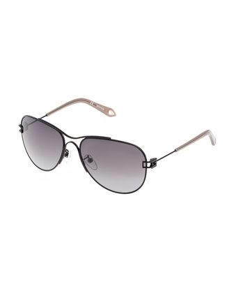 Matte Metal Aviator Sunglasses, Black
