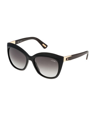 Pointed Square Sunglasses, Black
