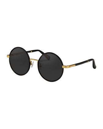 Round Leather-Wrapped Sunglasses, Golden/Black