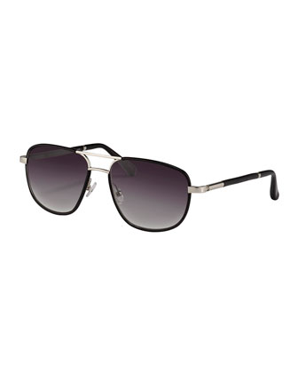 Leather-Wrapped Aviator Sunglasses, Black/Silver