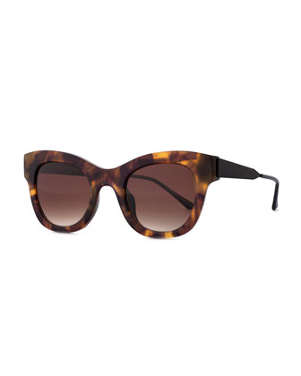 Leggy Cat-Eye Sunglasses, Havana