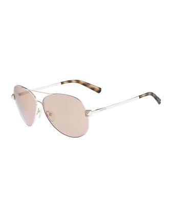 Metal Aviator Sunglasses with Rockstud Temples, Rose