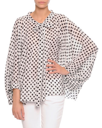 Tie-Neck Painted Polka Dot Poncho & Flat-Front Slim Pants