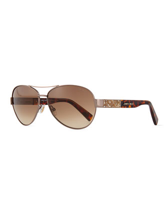 Babas Crystal-Temple Aviator Sunglasses, Bronze