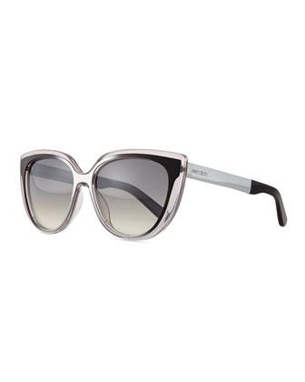 Cindy Cat-Eye Sunglasses, Gray/Black