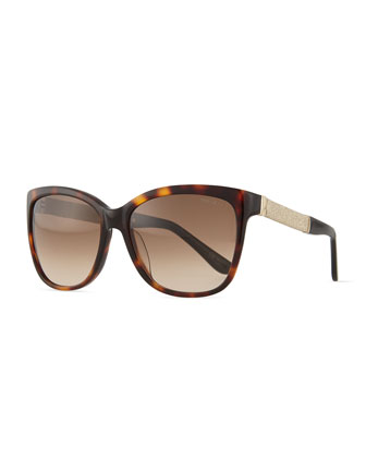 Cora Crystal-Temple Square Sunglasses, Havana