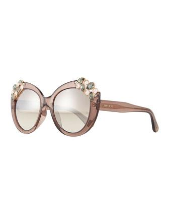 Megan Jewel-Detail Cat-Eye Sunglasses, Brown