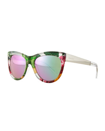 Floral-Fabric-Embed Butterfly Sunglasses, Crystal