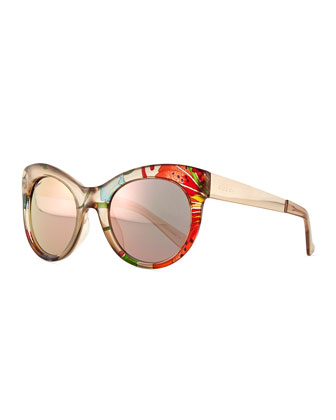 Fabric-Embed Round Sunglasses, Floral Beige