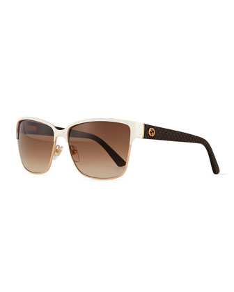 Dual-Rimmed GG-Temple Square Sunglasses, Ivory/Golden