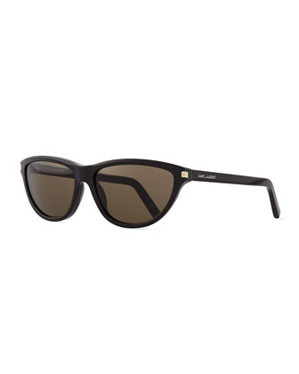 Cat-Eye Straight-Brow Sunglasses, Black