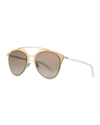 Mirrored Two-Tone Aviator Sunglasses, Rose Golden/White