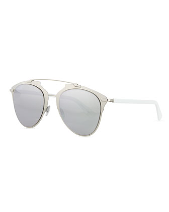 Reflected Two-Tone Aviator Sunglasses, Silvertone/White
