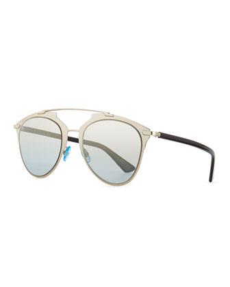 Mirrored Two-Tone Aviator Sunglasses, Pale Golden/Black