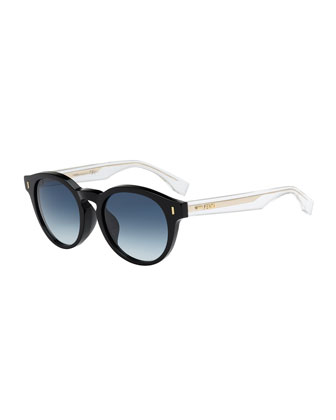 Round Clear-Arm Sunglasses, Black