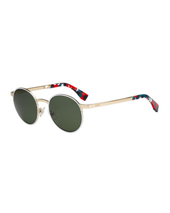 Round Floral-Ear Metal Sunglasses, White Multi
