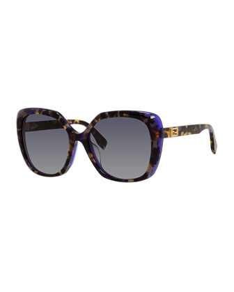 Universal-Fit Havana Square Sunglasses, Brown/Purple
