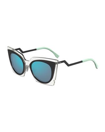 Runway Cat-Eye Sunglasses, Black/Clear
