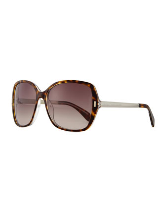 Square Plastic Oversize Sunglasses, Brown