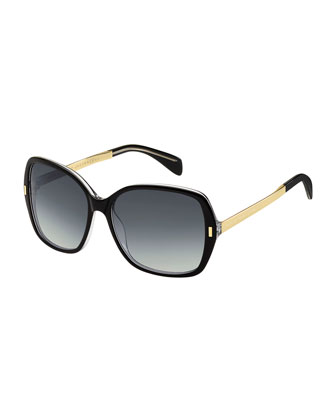 Square Metal-Arm Sunglasses, Black