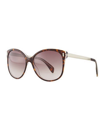 Clear-Edge Butterfly Sunglasses, Brown Havana