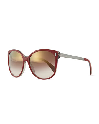 Clear-Edge Mirror Butterfly Sunglasses, Burgundy