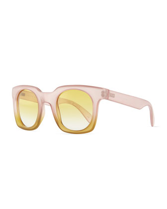 Bicolor Translucent Square Sunglasses, Pink/Yellow
