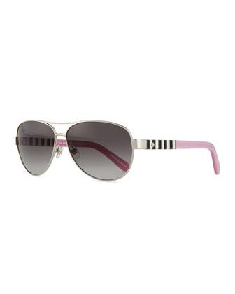 dalia aviator striped-arm sunglasses, silver