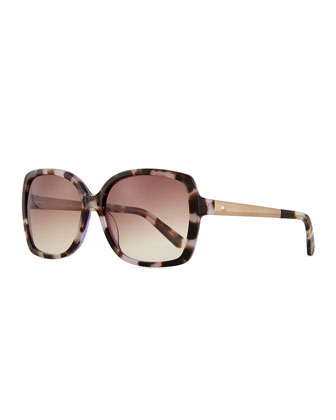 square sunglasses with golden arms, brown/purple