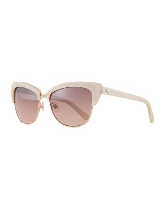 dual-rimmed cat-eye sunglasses, beige