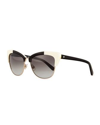 dual-rimmed cat-eye sunglasses, ivory/black