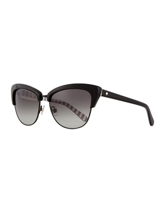 dual-rimmed cat-eye sunglasses, black
