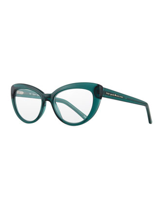 kalena cat-eye reading glasses, teal