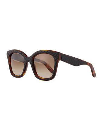 Quilt-Embossed Square Sunglasses, Black/Brown
