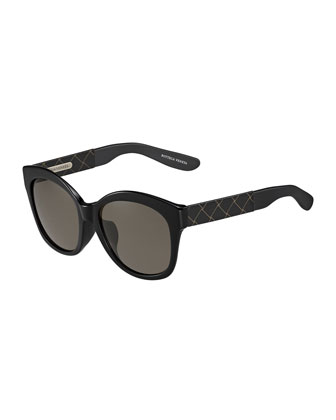 Universal-Fit Butterfly Leather-Square Sunglasses, Black