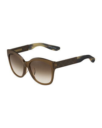 Universal-Fit Butterfly Leather-Square Sunglasses, Brown
