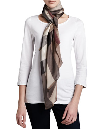 Mega Check Silk Scarf, Smoked Trench