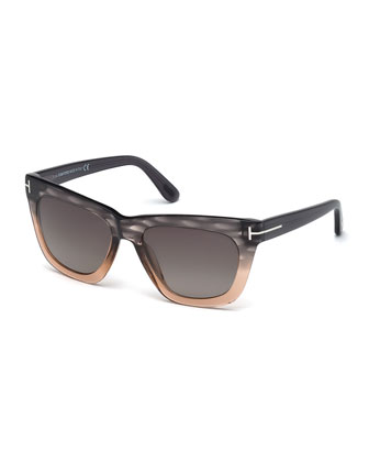 Celina Colorblock T-Temple Polarized Sunglasses, Gray/Pink