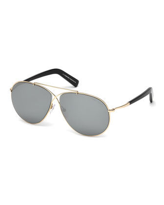 Eva Lighweight Aviator Sunglasses, Rose Gold/Gray
