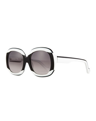 Two-Tone Oval Sunglasses, Black/White